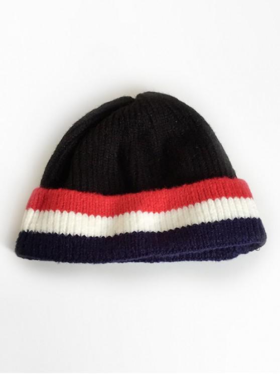 fashion Colored Striped Knitting Ski Cap - BLACK