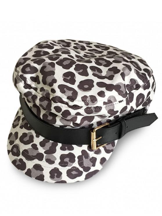 trendy Stylish Leopard Print Newsboy Hat - GRAY