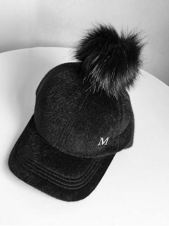women Letter M Fuzzy Ball Baseball Hat - BLACK