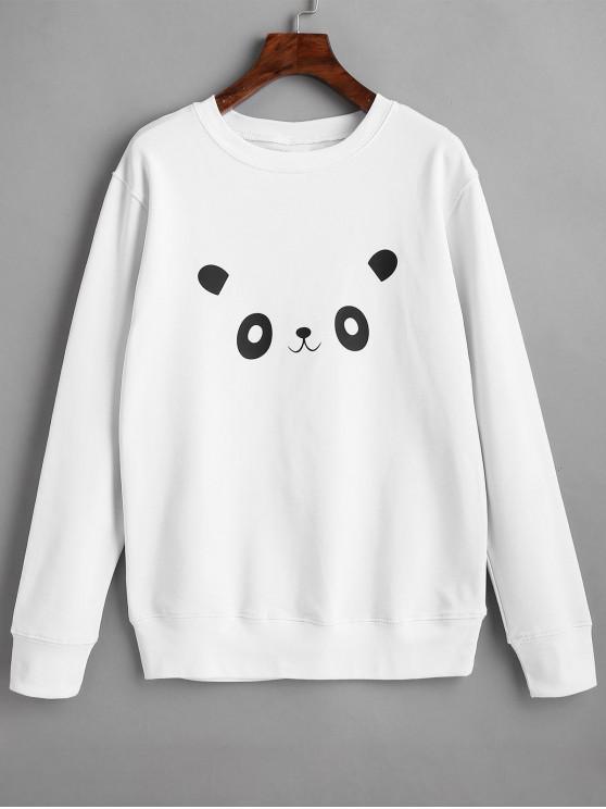 women's Panda Graphic Cute Sweatshirt - WHITE L