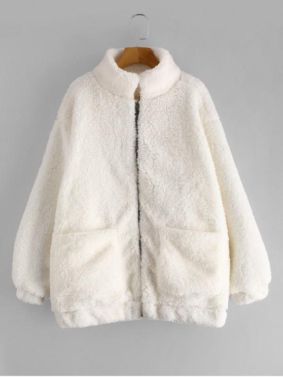 b8b90dc2426 HOT  2019 Slip Pockets Faux Fur Teddy Coat In WHITE M   ZAFUL