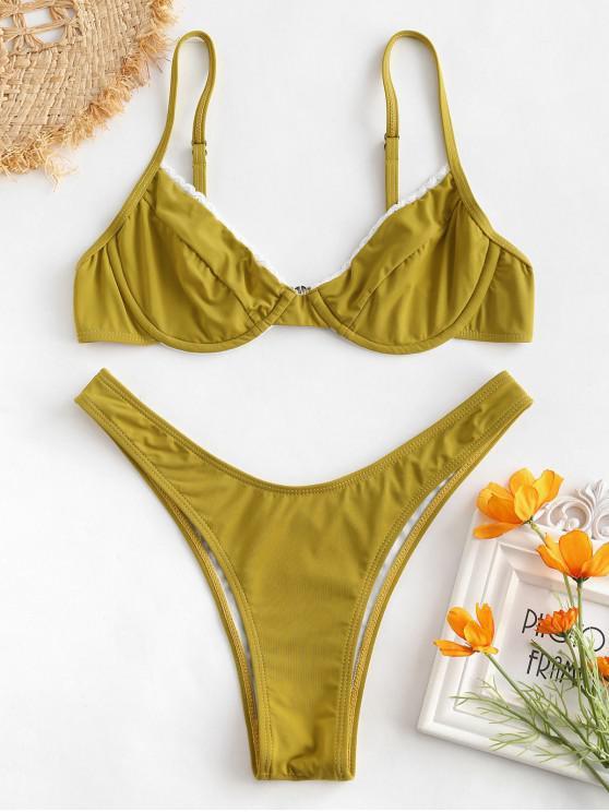 dfbe6a390d9 2019 ZAFUL Laced Underwire Bikini Set In FALL LEAF BROWN S