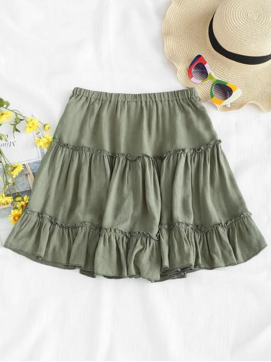 online Frilled Ruffles Skirt - CAMOUFLAGE GREEN S