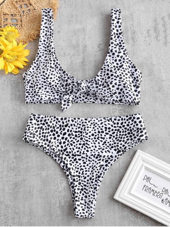 outfit ZAFUL Printed Tie Front Bikini Set - WHITE M