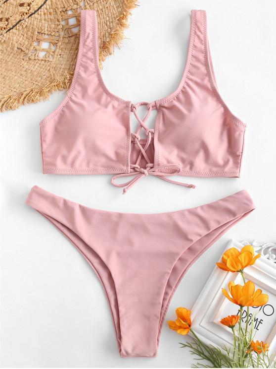 chic ZAFUL Lace-up Bikini Set - PINK S