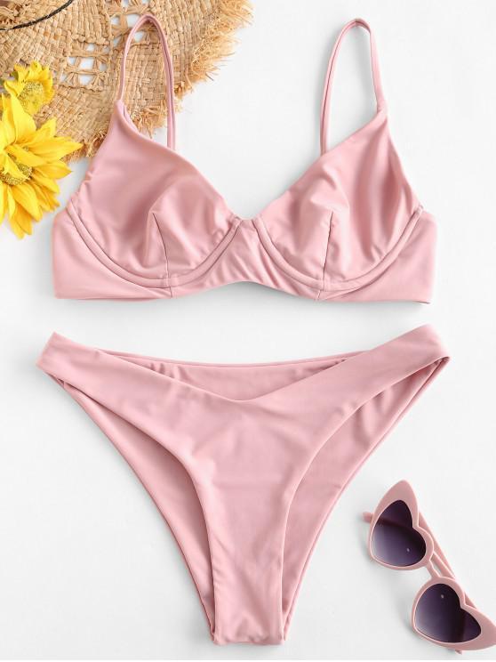 hot ZAFUL Tie Underwire Bikini Set - PINK L