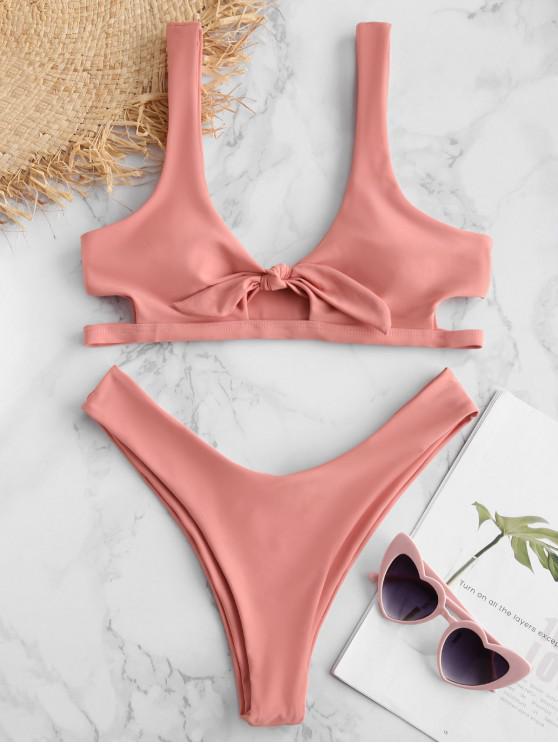 ladies ZAFUL Keyhole Tied Bikini Set - PINK L