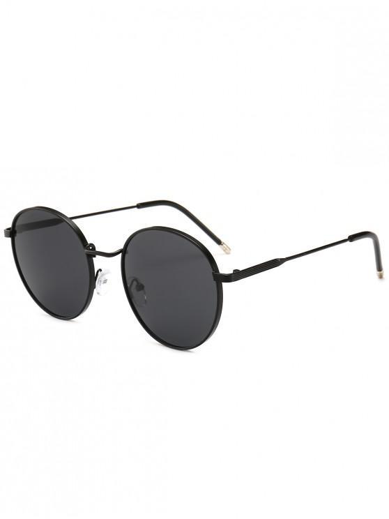 women's Retro Metal Frame Round Sunglasses - JET BLACK