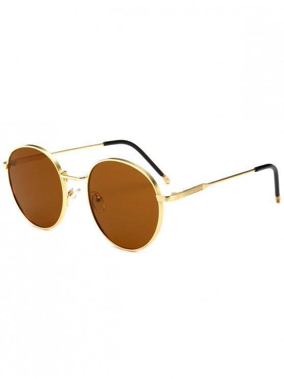 hot Retro Metal Frame Round Sunglasses - BROWN