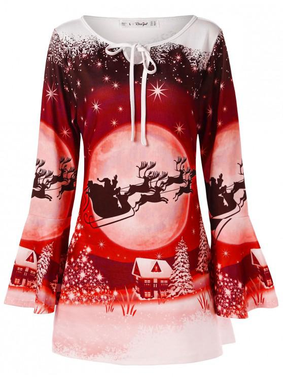 trendy Plus Size Flare Sleeve Christmas Print T-shirt - RUBY RED L