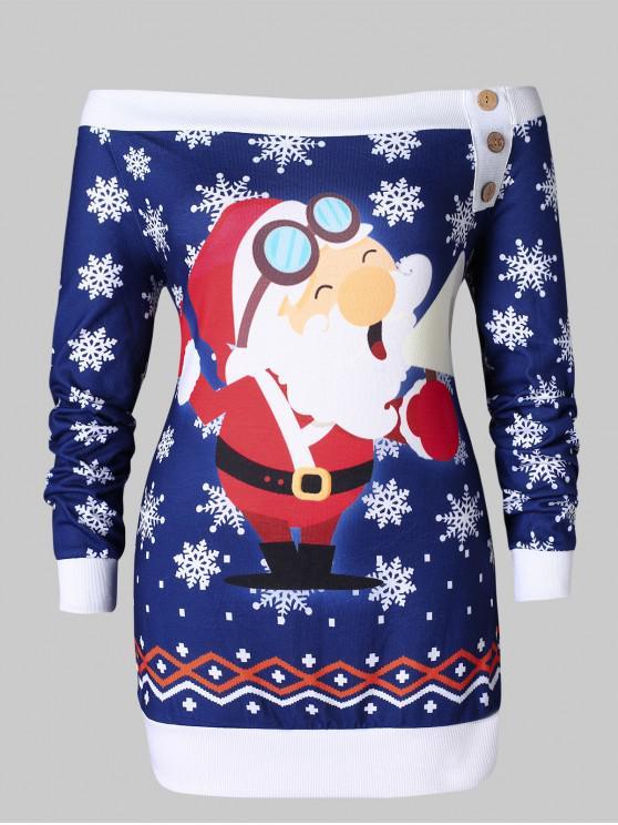 Plus Size Santa Claus Snowflake Off Shoulder Christmas T-shirt - 深藍 2X