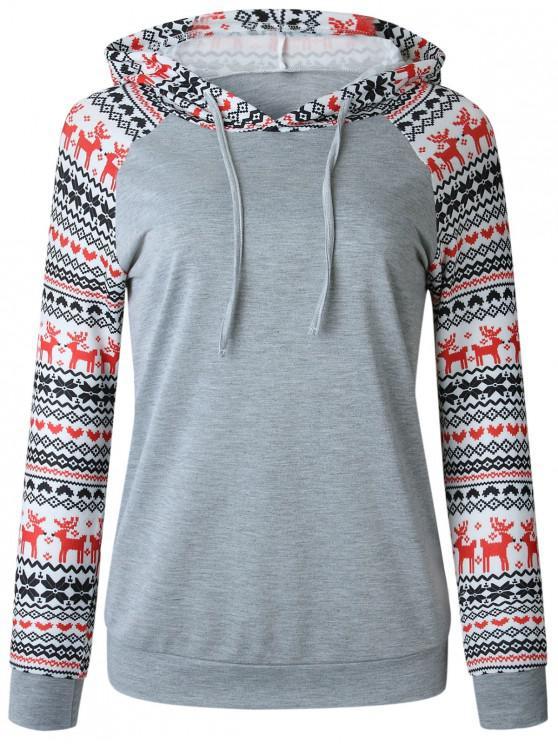 women's Christmas Raglan Sleeve Pullover Hoodie - LIGHT GRAY XL