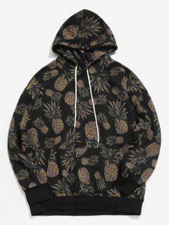 Pineapple Printed Casual Hoodie - Black M