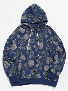 Pineapple Printed Casual Hoodie - Blue M