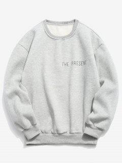 Pullover Letter Printed Solid Color Sweatshirt - Gray Goose L