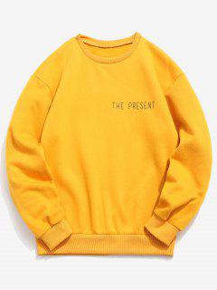 Pullover Letter Printed Solid Color Sweatshirt - Bright Yellow Xl