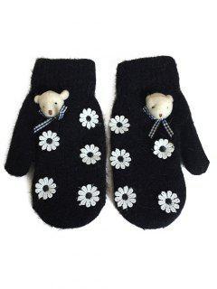 Cartoon Bear Floral Winter Gloves - Black