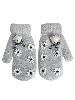 Cartoon Bear Floral Winter Gloves - Gray Cloud