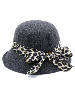 Leopard Bowknot Elegant Bucket Hat - Gray