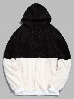 Faux Fur Half Zip Panel Hoodie - Black L