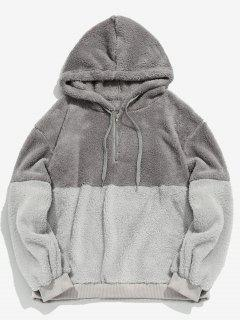 Faux Fur Half Zip Panel Hoodie - Light Gray M