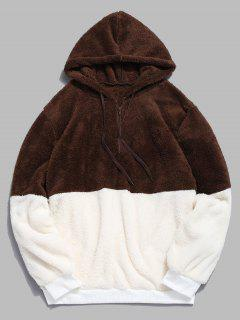 Faux Fur Half Zip Panel Hoodie - Coffee M