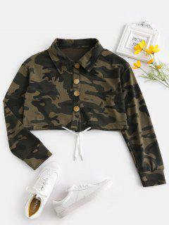 ZAFUL Button Fly Camo Crop Jacket - Acu Camouflage L