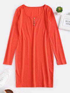 ZAFUL Fitted Long Sleeve Short Dress - Bright Orange M