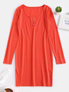 ZAFUL Fitted Long Sleeve Short Dress - Bright Orange Xl