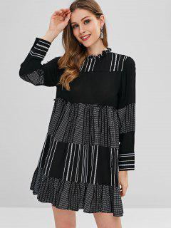 Casual Stripes Tunic Mini Dress - Black M