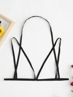 Caged Open Cup Harness Bralette - Black M