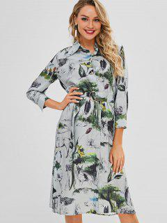 Side Buttoned Printed Shirt Dress - Multi M