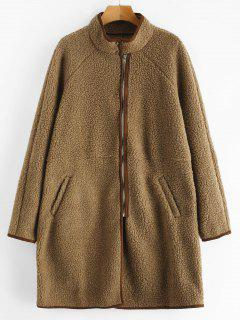 Zip Up Faux Shearling Winter Coat - Camel Brown M