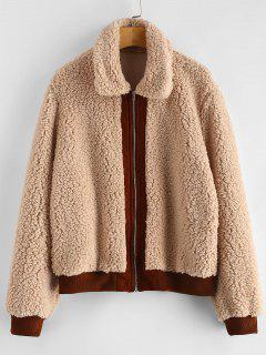 Contrast Trim Fluffy Faux Fur Coat - Camel Brown S