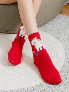 Cartoon Animal Print Cotton Socks - Red