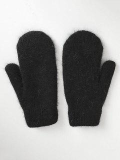 Solid Color Knitted Mitten Gloves - Black