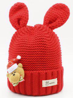 Christmas Bear Knitted Kids Beanie - Red