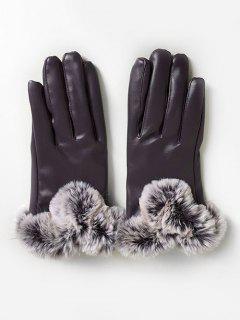 PU Leather Full Finger Ski Gloves - Plum Purple