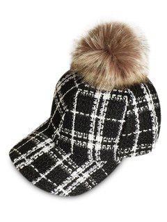 Stylish Plaid Fuzzy Ball Duckbill Cap - Black