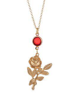Alloy Flower Pattern Rhinestone Necklace - Gold