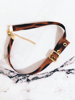Wide Leopard Printed Choker Necklace - Leopard