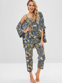Leaf Print Quasten-Pyjama-Set - Multi Xl
