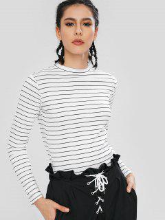 Long Sleeves Stripe Elastic Crop Top - White S