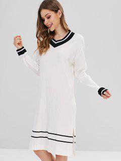 Robe De Nuit En Maille Rayée - Blanc