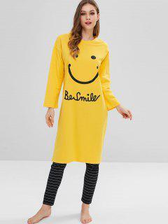 Smile Graphic Pajama Set - Bright Yellow