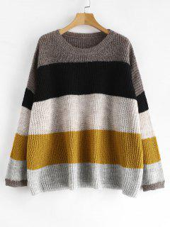Pull Oversize En Maille à Rayures - Multi