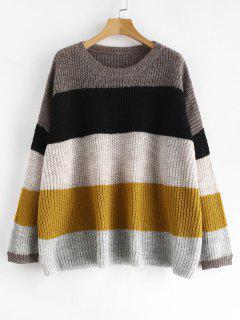 Loose Knit Striped Oversized Sweater - Multi