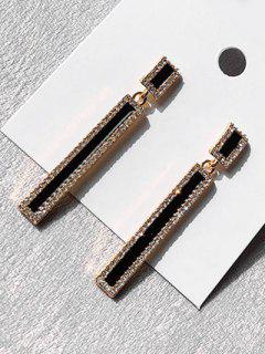 Geometric Long Rhinestoned Design Drop Earrings - Black