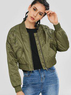 Lace Up Pockets Bomber Jacket - Army Green M