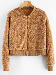 Faux Fur Zip Up Bomber Jacket - Light Brown M
